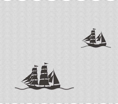 Old sailing in the sea  vector illustrator