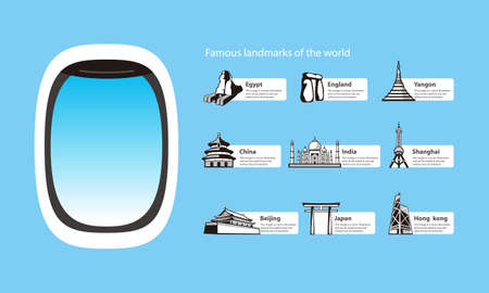 torii: plane window and landmarks of the world, vector illustration
