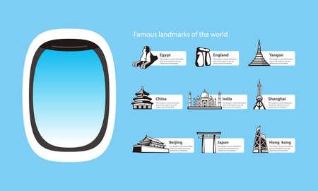 plane window and landmarks of the world, vector illustration