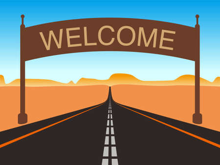 gobi: Straight road through to the sky, welcome on the road sign illustration