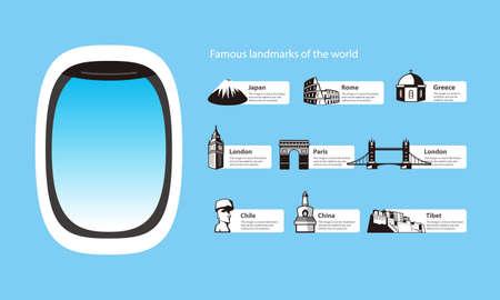 easter island: plane window and landmarks of the world vector illustration Illustration