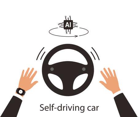 Autonomous self-driving concept, no touching, artificial intelligent, vector