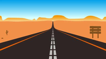 gobi: Straight road through to the sky on the gobi, vector illustration Illustration