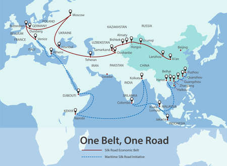asian business: One Belt, One Road, Chinese strategic investment in the future map, vector