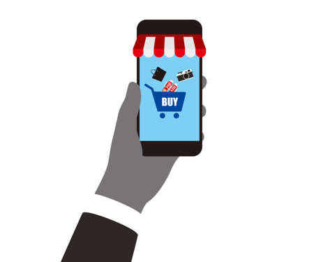 mobilephone: concept of purchasing product using smartphone, mobile shopping, Buy Online.