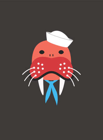 Portrait of walrus, wearing something, like seaman sailor, cool style