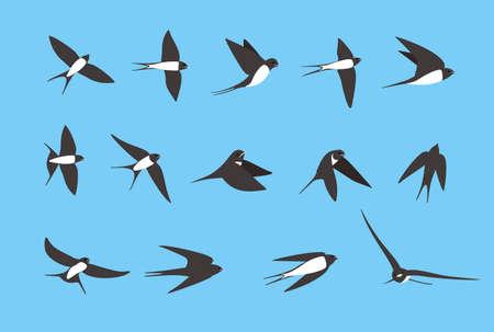 swallow flying flat icons set illustration Illustration