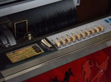jukebox: Close up of working vintage jukebox  Stock Photo