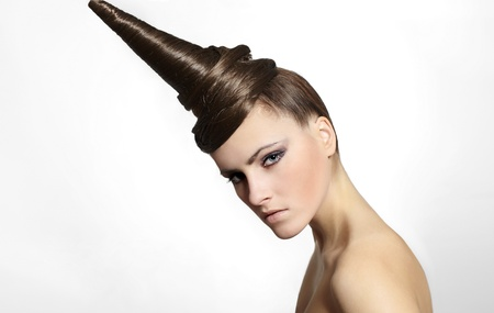 hair stylist: Fashion Girl with strange hair dress bright makeup isolated on white
