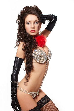 black girl nude: fashion portrait of pretty and sexy brunette girl in light lingerie with long curly hair and jewellery bright makeup red lips and long gloves