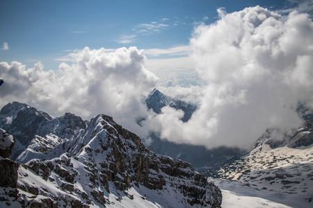 Clouds on Zugspitze Summit Banco de Imagens