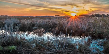 Sunset in Chincoteague island, VA Reklamní fotografie