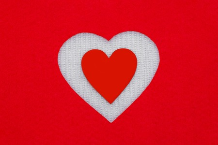 February 14. Valentines Day. Red white heart.