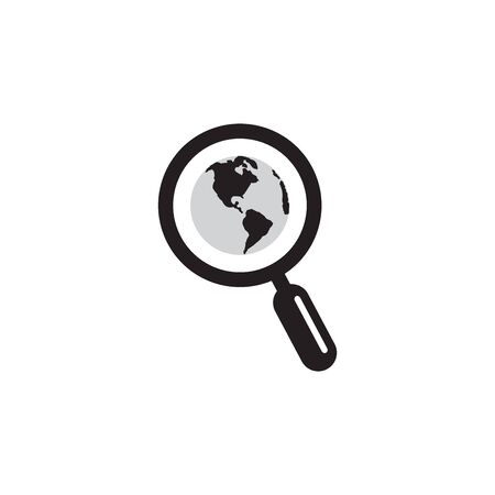 Magnifying Glass Globe Icon In Trendy Design Vector