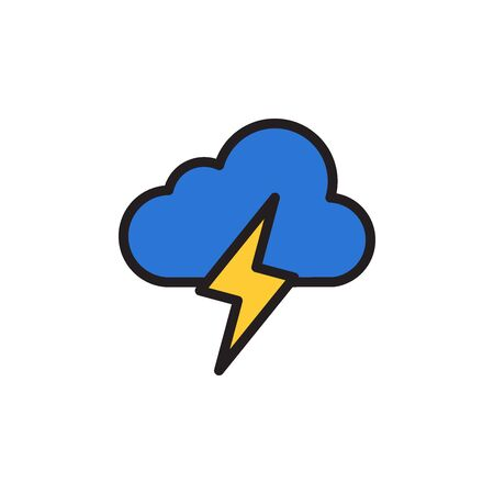 Lightning Cloud Icon In Trendy Design Vector 向量圖像