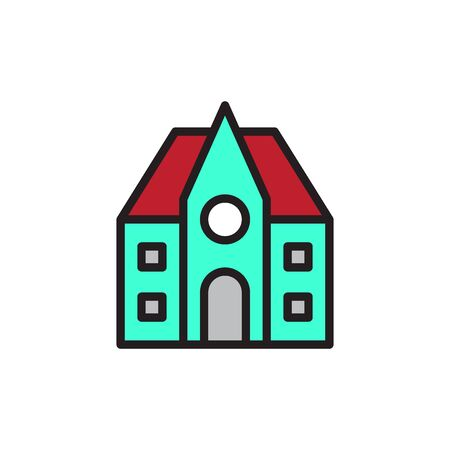 School Building Icon In Trendy Design Vector