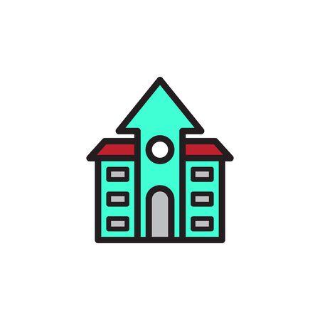 School Building Icon In Trendy Design Vector