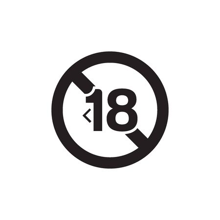 Under eighteen sign.Prohibition sign. Icon In Trendy Design Vector Eps 10