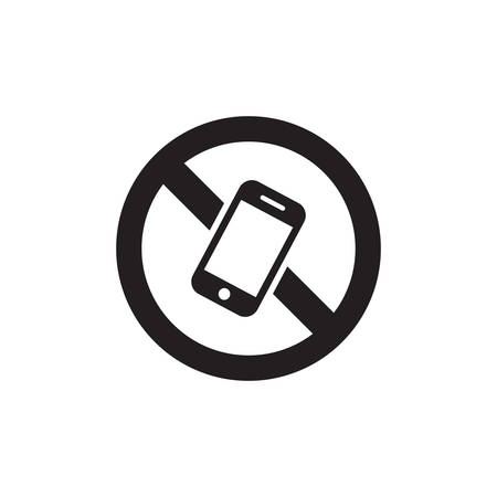 Mobile Phone Prohibited. No Cell Phone Sign Icon In Trendy Design