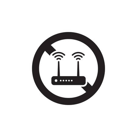 Prohibiting Sign For Wifi Router. No Wifi Router Sign Icon In Trendy Design  イラスト・ベクター素材