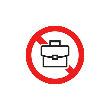 Prohibiting Sign For Briefcase. No Briefcase Sign. Icon In Trendy Design