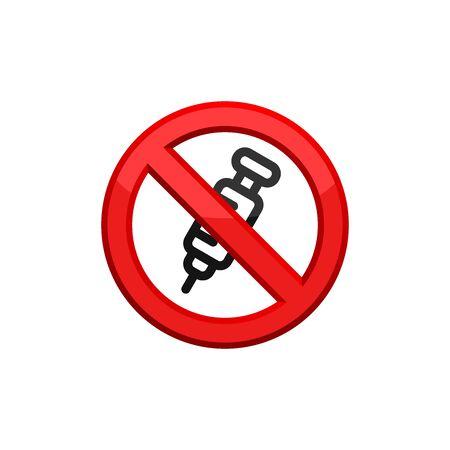 No Syringe Sign. Prohibition of Vaccination. Icon In Trendy Design Illustration