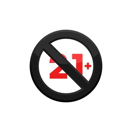 Under Twenty One Sign, Prohibition Sign Icon In Trendy Design
