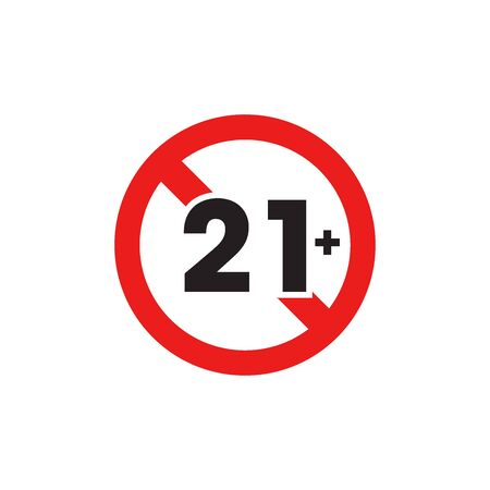 Under Twenty One Sign, Prohibition Sign Icon In Trendy Design