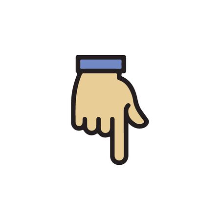 Gestures of Human Hand, Pointing Down Icon In Trendy Design Vector Eps 10