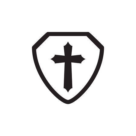 Shield With Christian Cross Icon In Trendy Design Vector