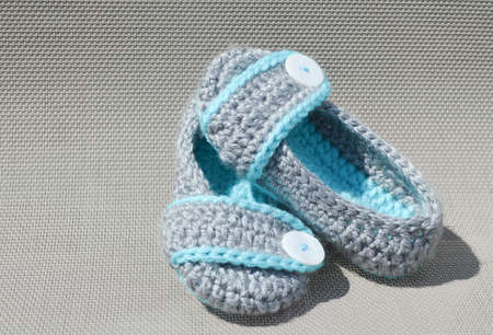 crocheted: Girls Crocheted Slippers Grey and Blue