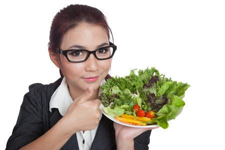 Asian office girl thumbs up and smile with salad photo
