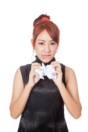 crumple: Angry Asian office girl crumple paper with both hand isolated on white background
