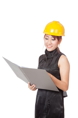 asian architect: Asian architect girl hold a folder and smile isolated on white background Stock Photo