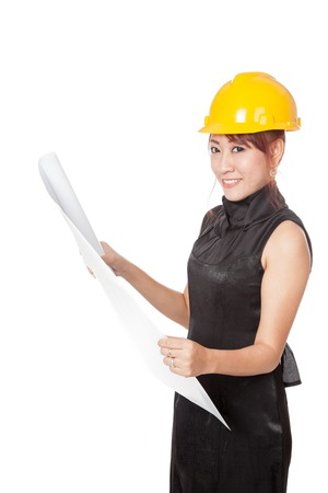 asian architect: Asian architect girl read a blueprint look at camera isolated on white background
