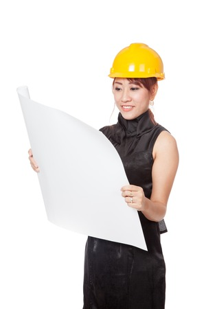 asian architect: Asian architect girl read a blueprint and smile isolated on wihte background