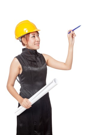 asian architect: Asian architect girl hold blueprint and point a pen up isolated on white background