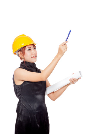 asian architect: Asian architect girl wear hardhat and point a pen up  isolated on white background Stock Photo