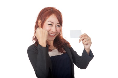 Asian office girl successfully getting a card isolated on white background photo