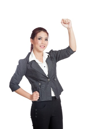 fist pump: Asian business woman fist pump for  success  isolated on whtie background