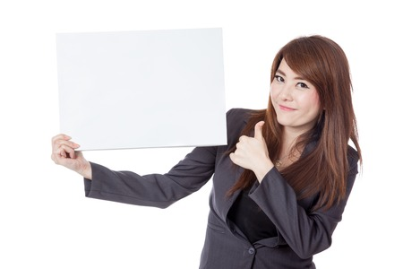 thumbs up business: Asian businesswoman  thumbs-up with a blank sign isolated on white background Stock Photo