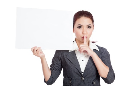 Asian businesswoman show a blank sign and quite sign isolated on white background