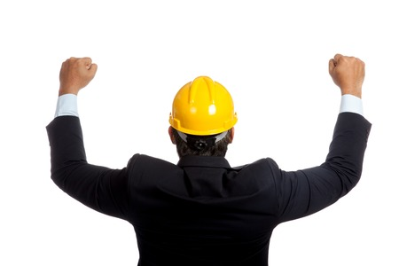 Back of Asian engineer man rise both fists up for success isolated  photo