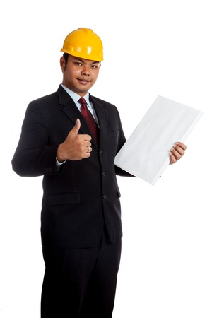 Asian engineer man thumbs up with vertical  blank sign isolated on white background photo