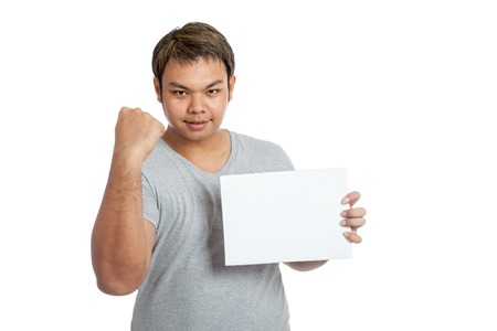 fist pump: Asian strong man fist pump with blank sign isolated on white background