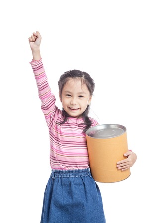 fist pump: Asian little girl hold a  big bucket and fist pump  isolated on white background