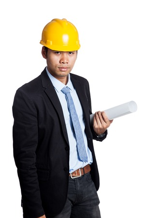 Asian engineer man hold a roll of blueprint isolated on white background photo