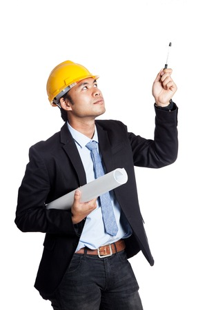 Asian engineer man hold a blueprint and point up with a pen isolated on white background photo