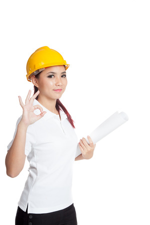 informal clothing: Asian engineer girl show OK sign isolated on white background