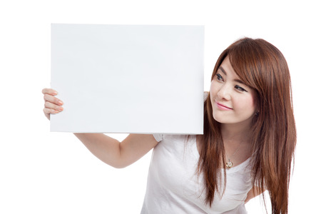 Asian girl hold blank sign  isolated on white background